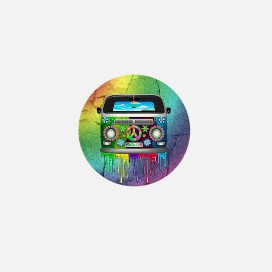 Hippie Van Dripping Rainbow Paint Mini Button