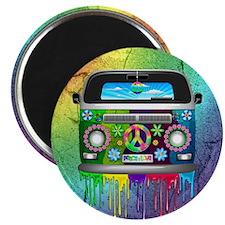 Hippie Van Dripping Rainbow Paint Magnets
