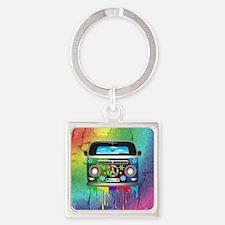 Hippie Van Dripping Rainbow Paint Keychains