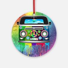 Hippie Van Dripping Rainbow Paint Ornament (Round)