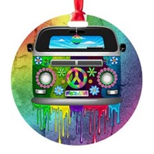 Hippie Van Dripping Rainbow Paint Ornament