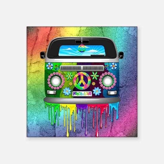Hippie Van Dripping Rainbow Paint Sticker