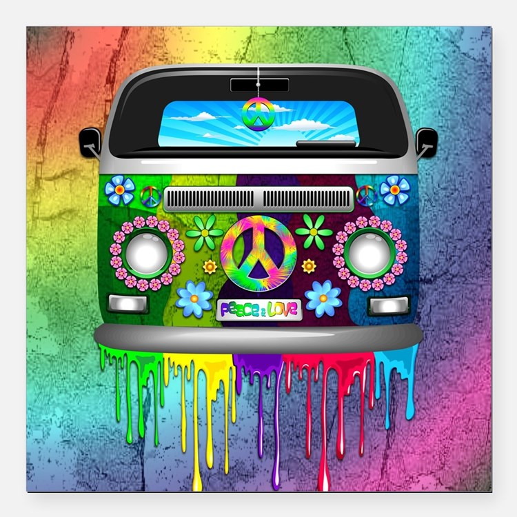 Hippie Van Dripping Rainbow Paint Square Car Magne