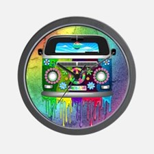 Hippie Van Dripping Rainbow Paint Wall Clock