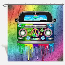 Hippie Van Dripping Rainbow Paint Shower Curtain