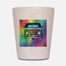 Hippie Van Dripping Rainbow Paint Shot Glass