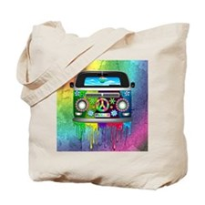 Hippie Van Dripping Rainbow Paint Tote Bag