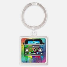 Hippie Van Dripping Rainbow Paint Keychains