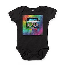 Hippie Van Dripping Rainbow Paint Baby Bodysuit