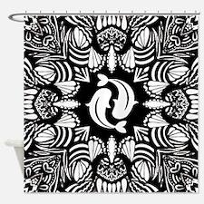 Buddhist yin and yang fish symbol Shower Curtain
