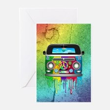 Hippie Van Dripping Rainbow Paint Greeting Cards