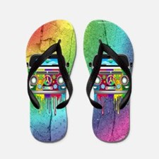 Hippie Van Dripping Rainbow Paint Flip Flops