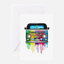 Hippie Van Dripping Rainbow Paint Greeting Cards
