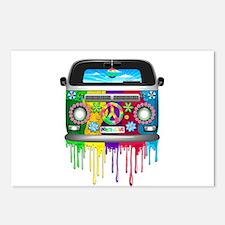 Hippie Van Dripping Rainbow Paint Postcards (Packa