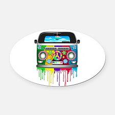 Hippie Van Dripping Rainbow Paint Oval Car Magnet