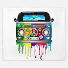 Hippie Van Dripping Rainbow Paint King Duvet