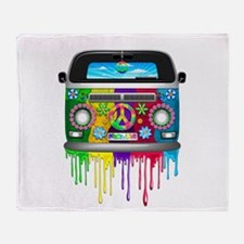 Hippie Van Dripping Rainbow Paint Throw Blanket