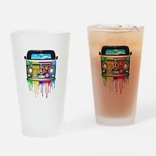 Hippie Van Dripping Rainbow Paint Drinking Glass