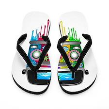 Hippie Van Dripping Rainbow Paint Flip Flops
