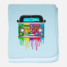 Hippie Van Dripping Rainbow Paint baby blanket