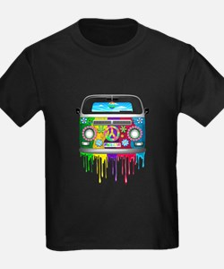 Hippie Van Dripping Rainbow Paint T-Shirt