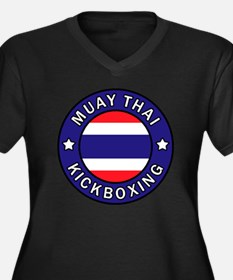 Muay Thai Women's Plus Size V-Neck Dark T-Shirt
