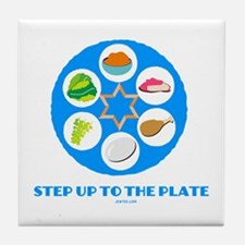 Step Up To Plate Passover Tile Coaster