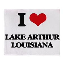 I love Lake Arthur Louisiana Throw Blanket