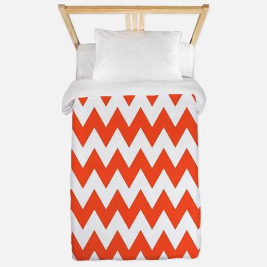Orange And White Zigzag, Twin Duvet