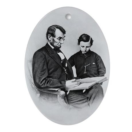 Pres Abraham Lincoln & son Tad Oval Ornament