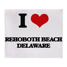 I love Rehoboth Beach Delaware Throw Blanket