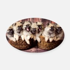 Puppies in baskets Oval Car Magnet