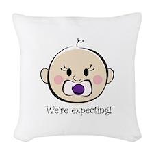 Were Expecting Woven Throw Pillow