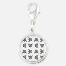 SLATE RIBBON Silver Round Charm