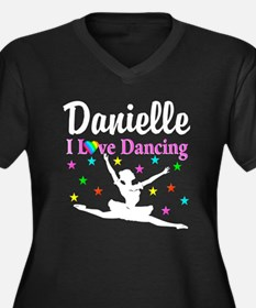 DANCING PRIN Women's Plus Size V-Neck Dark T-Shirt