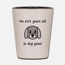 93 dog years 2 Shot Glass