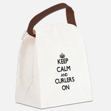 Keep Calm and Curlers ON Canvas Lunch Bag