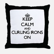 Keep Calm and Curling Irons ON Throw Pillow