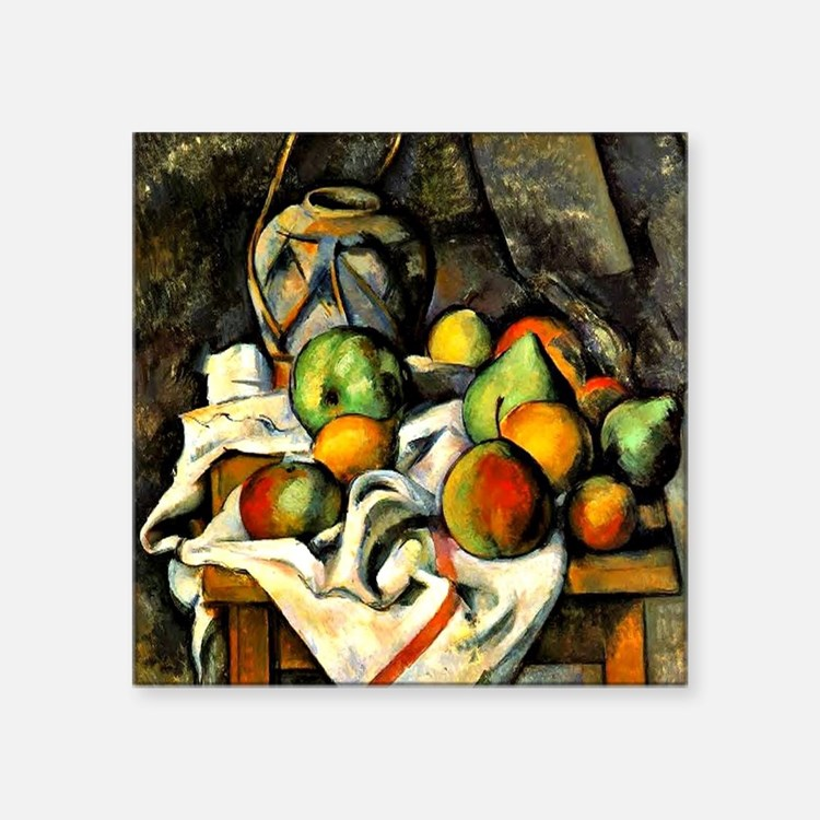 """Cezanne - Ginger Jar and Fr Square Sticker 3"""" x 3"""""""