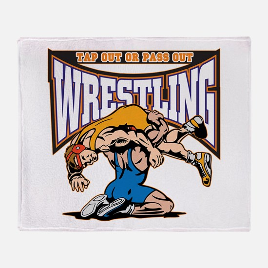 Tap Out or Pass Out Wrestling Throw Blanket