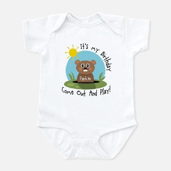 Parker birthday (groundhog) Infant Bodysuit