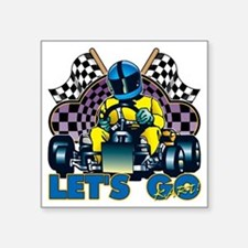 "Let's Go Kart! Square Sticker 3"" x 3"""