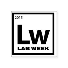 "Lab Week 2015 Logo White Square Sticker 3"" x 3"""