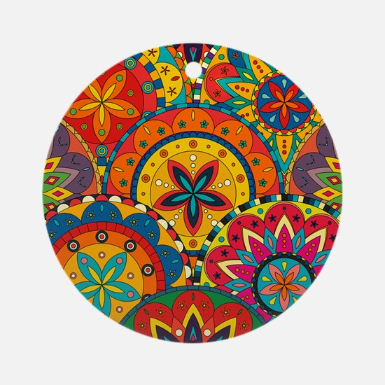 Funky Retro Pattern Ornament (Round)