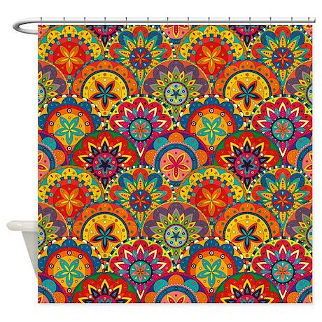 Funky Retro Pattern Shower Curtain
