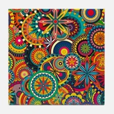 Funky Retro Pattern Tile Coaster