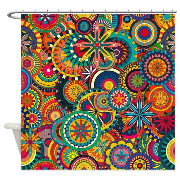 Funky Kitchen Curtains: Funky Retro Pattern Shower Curtain By Admin_CP79877276
