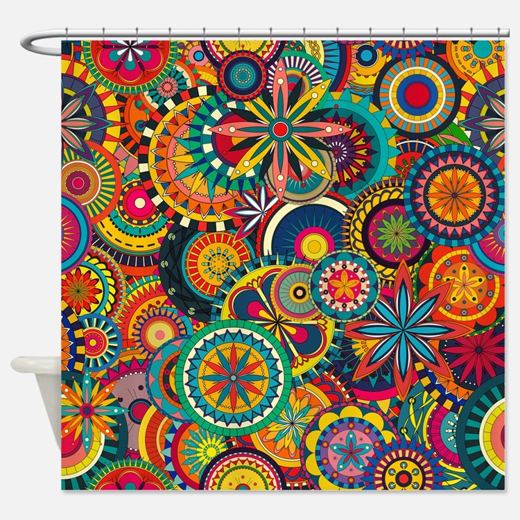 Funky Retro Shower Curtains | Funky Retro Fabric Shower Curtain Liner