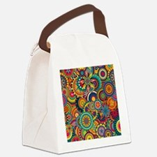 Funky Retro Pattern Canvas Lunch Bag