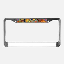 Funky Retro Pattern License Plate Frame